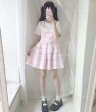 Japanese Style Summer Kawaii Sweet Pink Plaid Sleeveless Lolita Braces Dress Moe