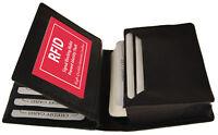 Black RFID Blocking Leather Wallet Front Pocket ID Card Center Flap Holder