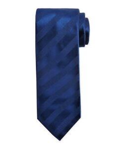 "$225 NWT BRIONI Dark Royal blue Self Ribbon stripes 3.1"" Silk Cotton neck tie"