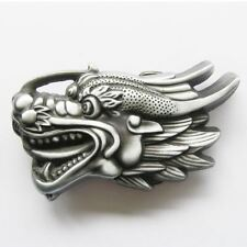 Antique Silver Dragon Head 3D Western Metal Belt Buckle