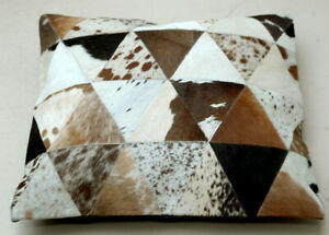 """New COWHIDE Cushion Covers Leather Pillow Patchwork Cushion # 100(18""""x18"""")"""