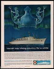 1962 MOORE-McCORMACK Line Cruise Ship Ocean Liner w/ Mermaids Travel AD