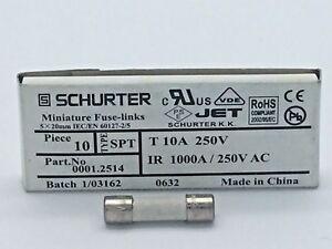 SCHURTER 0001.2514 Ceramic Mini Fuse Link SPT 5X20 10A Speed T 5x20mm 10 Pack