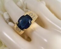 Vintage Jewellery Gold Ring with Blue White Sapphires Antique Deco Jewelry 12 Y