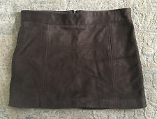 BERYLL 100% Leather Mini Skirt (Chocolate Brown, S)