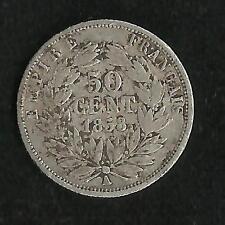 50 ct Argent Napoleon III 1858 A TB