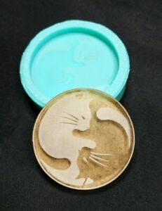 Shiny CAT YING YANG Etched SILICONE Mold - Clay Resin Wax - Craft Charm DIY