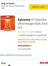 Pair Sylvannia H7 Silver Star Ultra- Halogen Bulbs (Hi&lo Beam operation) NWOT