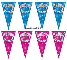Happy Birthday Blue Holographic 12.8ft Party Bunting 11 Flags