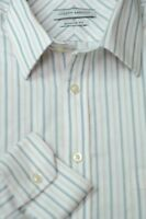 Joseph Abboud Men's White Black & Gold Stripe Cotton Dress Shirt 16 x 35