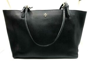 """Tory Burch Robinson Saffiano Black Leather Tote Bag Double Handles """"T"""" Logo"""