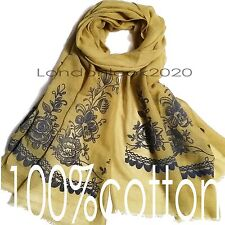 New Arrival Women 100% Cotton Long Vintage Floral Neck Scarf Stole Flower Shawl