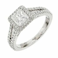 2ct Princess Cut Diamond Engagement Ring Halo Split Shank 14k White Gold Finish