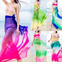 Hot Sheer Colorful Chiffon Sarong Pareo Beach Cover-up Summer Bikini Wrap Dress