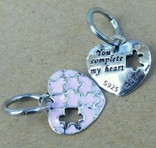 You Complete My Heart PINK Open Puzzle Piece European Bead Charm Gift for Her