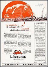 PUBBLICITA' 1924 LUBRIFICANTI GARGOYLE VACUUM OIL OLIO AUTO GENOVA DEVIL SATANA