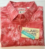 Haggar Mens Size Large Red Island Ease  Hawaiian SS Stretch Button Front Shirt