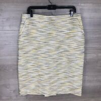 Anne Klein Women's Size 14 Knee Length Pencil Skirt Space Dye Tweed Black Yellow