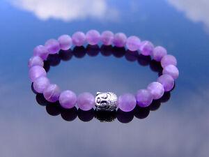 Buddha Matte Amethyst Natural Gemstone Bracelet 6-9'' Elasticated Healing Stone