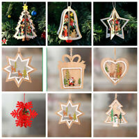3D DIY Colorful Christmas Wooden Ornaments Christmas Tree Hanging Pendants -