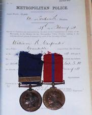 1887 - 1902 METROPOLITAN POLICE PAIR MEDALS + Service Details