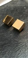 Vintage NAPIER Gold Tone Cube Clip On Earrings