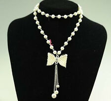 Womens Lady Jewelrys Cheap Necklace Pearl bow Sweater Lady Chain Charm Pop