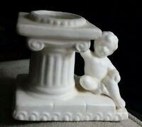 Vintage Ceramic Figurine Child next to a Column white candleholder, NAPCO 1962