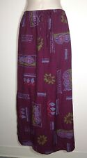 Dressbarn Size Large Long Summer Maxi SKIRT Purple Plum Rayon Island Travel