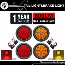 "4x Red Amber 12 LED 5.5"" Round Tail Stop Turn Back Light Truck RV Trailer Marker"
