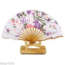 Exquisite Chinese Japanese Flower Folding Silk Bamboo Pocket Wedding Hand Fan