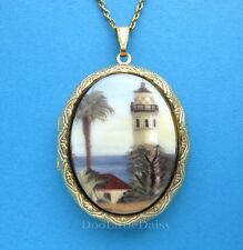 Porcelain POINT VINCENTE CA LIGHTHOUSE CAMEO Costume Jewelry GT Locket Necklace