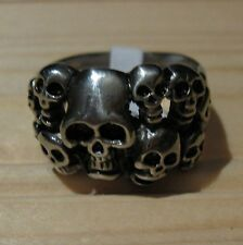 Biker Skull Wolf motorcycle stainless steel ring (choice designs & sizes)