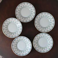 Lot of 5 Vintage A. Raynaud Limoges Ceralene Lafayette Blue, Pink Floral Saucers