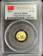 2012 GOLD CHINA 20 YUAN PANDA 1/20 OZ COIN PCGS MINT STATE 69