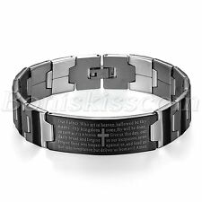 Fashion Silver Black Tone Cross Bible Lord's Prayer Men Stainless Steel Bracelet