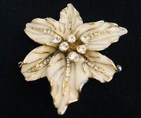 Vintage Enamel Gold Tone Diamante Pin Brooch Lily Flower Art Nouveau Style 5x5cm