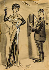 A4 Size Vintage Retro Boudoir Burlesque Erotic Pin Up Girl Sketches