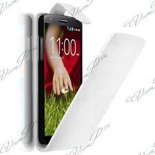 Housse Coque Etui Simili Rabat BLANC Cuir LG G2 Mini LTE Dual Sim D618 D620