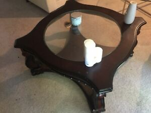 Glass Insert Wood Table