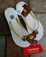 HAVAIANAS Flip Flops sz 7M WEDGE Limited Edition White SANDALS Swarovski NWT