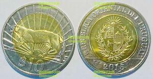 Uruguay 10 pesos 2011-2015 puma leopard panther animal 28mm bi-metal coin UNC