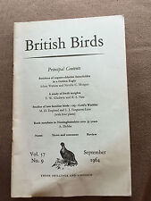 """SEPT 1964 """"BRITISH BIRDS"""" MONTHLY MAGAZINE - INSECTICIDES IN GOLDEN EAGLES"""