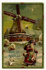 VIVE ST.NICOLAS. MOULIN. MILL. GAUFRé. EMBOSSED. JOUET. TOY.