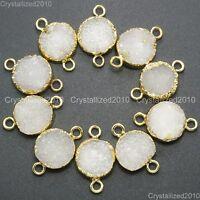 Natural Druzy Quartz Agate Round Connector Charm Pendant Healing Beads Gold 16mm