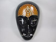 Super Dominica Wooden Tribal Ethiopian Mask Shell Inlay Wall Hanging Art 9.5""