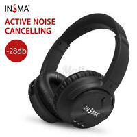 ❤INSMA ANC Active Noise Cancelling Wireless Headphone bluetooth Headset