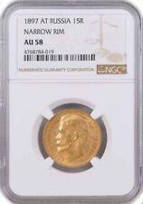 1897 AT Narrow Rim 15 Rouble Nicholas II .900 Fine Russian Gold NGC AU58