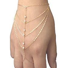 Boho Hand Slave Harness Chain Bracelet Bangle Beach 14KGold Plate & Rhinestones