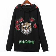 Women Blind for Love Hoodies Animal Tiger Sequin Sweatshirt Embroidery Pullover
